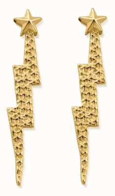 ChloBo Lightning Bolt Drop Stud Earrings | 18ct Gold Plated GEST4002