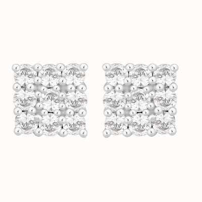 Perfection Swarovski Square Shaped Cluster Stud Earrings (1.00ct) E2189-SK