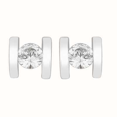 Perfection Swarovski Single Stone Bar Set Stud Earrings (0.20ct) E3254-SK