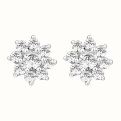 Perfection Swarovski Nine Stone Flower Cluster Stud Earrings (0.33ct) E3283-SK