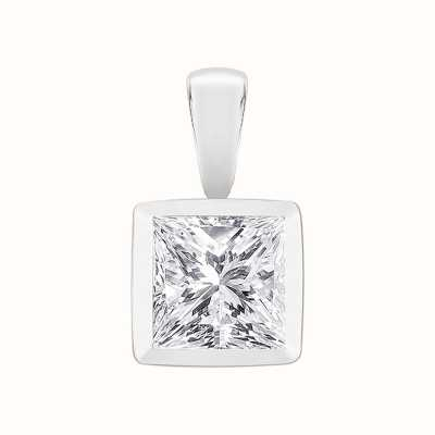 Perfection Swarovski Single Stone Rubover Princess Cut Pendant (0.90ct) P5490-SK