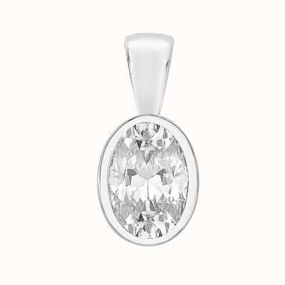 Perfection Crystals Single Stone Rubover Oval Cut Pendant (0.50ct) P5505-SK