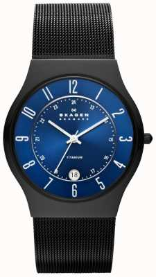 Skagen Mens Black Titanium Case steel Strap Watch T233XLTMN