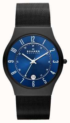 Skagen Mens Black Titanium Case steel Strap Watch T233XLTMN