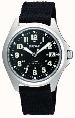 Pulsar Mens Black Canvas Strap Watch PS9045X1