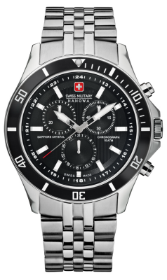 Swiss Military Hanowa Mens Flagship Black Dial Stainless Steel Chronograph 6-5183.7.04.007