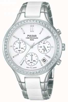 Pulsar Womens' White Ceramic & Stainless Steel Crystal-Set Chrono PT3305X1