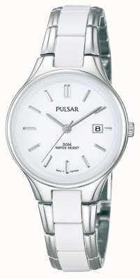 Pulsar Womens' White Ceramic & Stainless Steel White Dial Watch PH7267X1