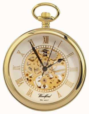 Woodford | Open Face | Gold Plated | Skeleton | Pocket Watch | 1030