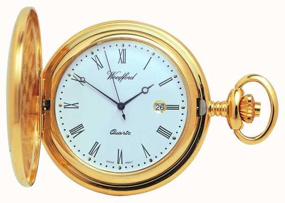 Woodford Full Hunter Gold Quartz Pocket Watch 1207