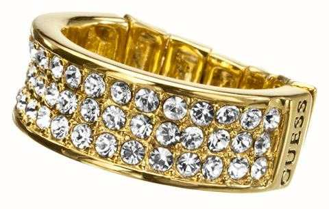Guess Gold Plated Steel Crystal Stretch Ring UBR11307-S