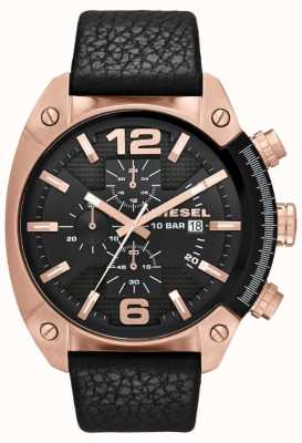 Diesel Mens Overflow Rose-Gold Black Dial Black Leather Strap Watch DZ4297