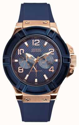 Guess Mens Rigor Blue and Rose-Gold Watch W0247G3