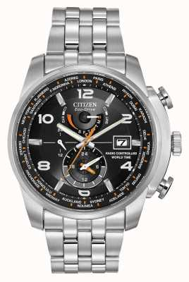 Citizen Radio Controlled World Time Black Dial Stainless Steel AT9010-52E