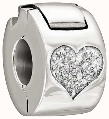 Chamilia Sterling Silver with Stone - Jeweled Heart Lock - Crystal 1430-0008