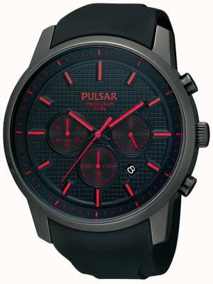 Pulsar Mens Black Ion-Plated Red Detail Rubber Strap Watch PT3195X1
