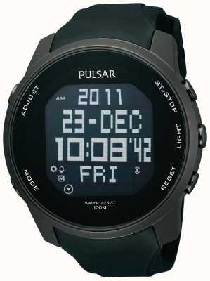 Pulsar Mens Digital Ion Plated Steel Black Rubber Strap Watch PQ2011X1