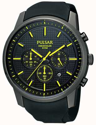 Pulsar Mens Black Ion-Plated Yellow Detail Rubber Strap Watch PT3193X1
