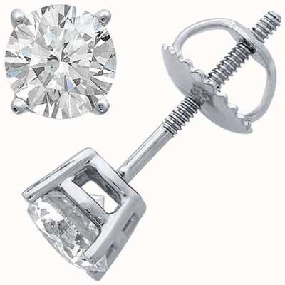 Certified Diamond Earrings Four Claw 0.33ct H SI Screw Back Fittings C33PT-4CLAW-HSI