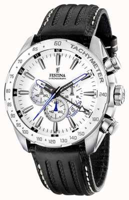 Festina Mens Stainless Steel White Dial Black Leather Strap Chrono F16489/1