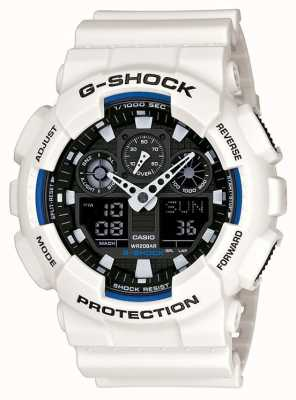 Casio Mens G Shock White Resin Watch GA-100B-7AER