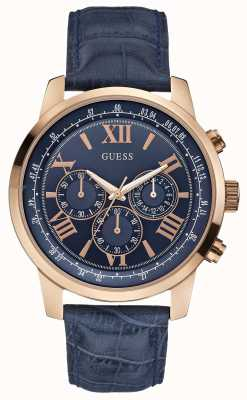 Guess Mens Horizon Rose Gold & Blue Chronograph W0380G5