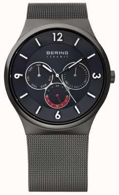 Bering Mens Grey Steel Ceramic Black Dial Mesh Strap Watch 33440-077