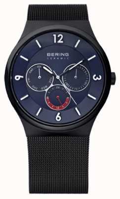 Bering Mens Black IP Steel Ceramic Blue Dial Mesh Strap Watch 33440-227