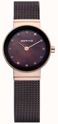 Bering Time Ladies Brown Classic Mesh Watch 10122-265