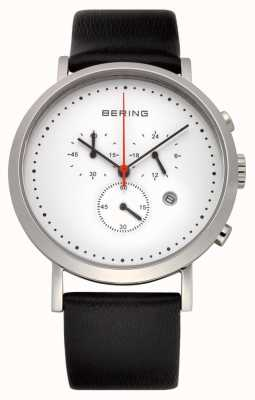 Bering Mens Stainless Steel White Dial Black Calfskin Leather Watch 10540-404