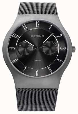 Bering Mens Titanium Black Dial Date Display Watch 11939-077