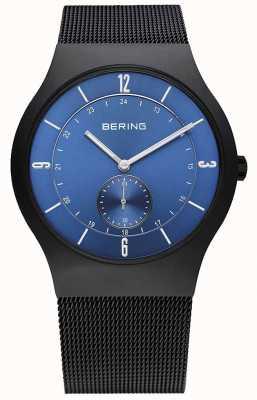 Bering Mens Black, Slim, Blue Dial Watch 11940-227