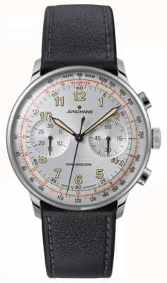 Junghans Mens Meister Telemeter Black Leather Strap 027/3380.00