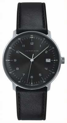 Junghans Mens max bill Quartz Black Dial Black Leather Watch 041/4462.00