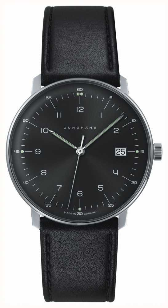 Latest New Junghans Black 041/4462.00 Max Bill Stainless Steel And Leather Quartz Watch for Men Online Sale On Sale