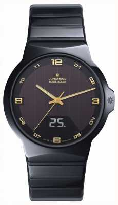 Junghans Mens Force Mega Solar, Black Ceramic, Gold 018/1435.44