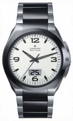 Junghans Mens Spektrum Mega Solar Steel & Black Ceramic Watch 018/1423.44