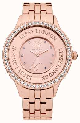 Lipsy Womens Rose Tone Bracelet Watch with Rose Tone Crystal Set LP140