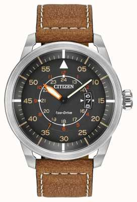 Citizen | Mens Eco-Drive Avion WR100 | Brown Leather Strap | AW1361-10H