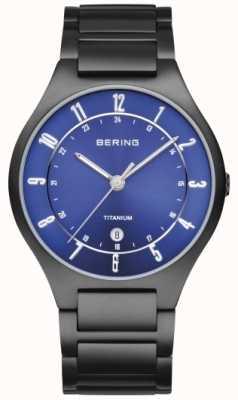 Bering Mens Black Titanium, Blue Dial Watch 11739-727