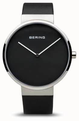 Bering Womens classic, Black Dial, Steel, Leather 14539-402