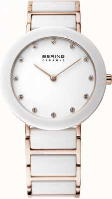 Bering Womens White Ceramic, Rose Gold, Crystal 11435-766