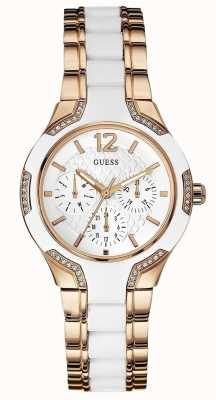 Guess Ladies Center Stage, White & Rose Gold W0556L3