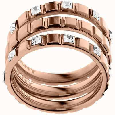 DKNY PVD rose gold plated Size M.5 Urban Essentials Ring NJ2121791505
