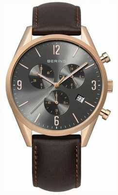 Bering Mens Rose Gold, Grey Dial, Leather Watch 10542-562