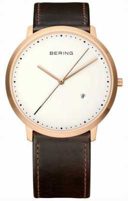 Bering Mens White Dial Brown Leather Strap 11139-564