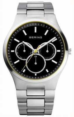 Bering Mens Black Dial, Yellow Accent, Multi Dial 13841-702