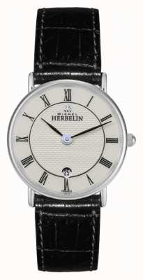 Michel Herbelin Womens Stainless Steel, Leather Strap Watch 16845/S08