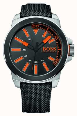 Hugo Boss Orange Mens Stainless Steel, Black Leather Strap 1513116