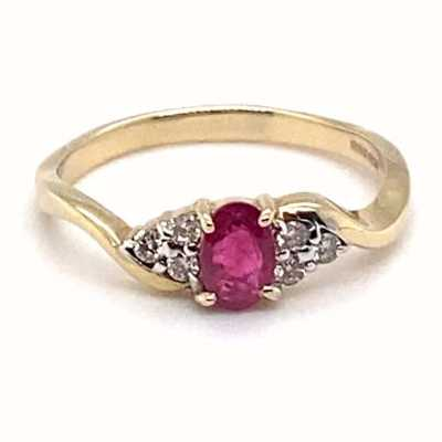 9k Yellow Gold Ruby Diamond Ring JM7882